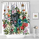 MACOFE Fabric Shower Curtain,71x71inch,Black Panther Print Shower Curtain Waterproof, Machine Washable,Hooks Included,Original Design Hand Drawing(Black Panther)