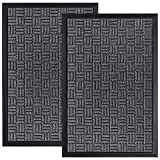 HOMWE Front Door Mats, 2 Pc Set, 29.5 x 17, All Weather Entry and Back Yard Door Mat, Indoor and Outdoor Safe, Non-Slip Rubber Backing, Absorbent and Waterproof, Dirt Trapping Rugs for Entryway