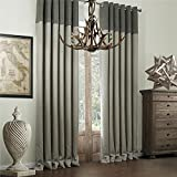 IYUEGO Classic Bamboo Fiber Faux Room Darkening Grommet Top Curtain Draperies with Multi Size Custom 50' W x 102' L (One Panel)