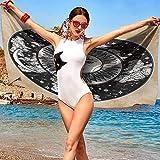 xixiBO Big Towel W20 xL39 Mystic,Ethnic Sun Face in A Circle Motif Esoteric Inner Power of The Cosmos Theme Black White Cream Oversized Bath Towel