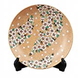 Jpanese traditional ceramic Kutani ware. Decorative Plate with a stand. Shower of cherry blossom. With wooden box. ktn-K5-1380