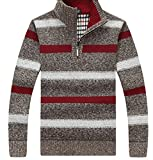 Product review for ouxiuli Men's Striped Print Casual Half Zip Long Sleeve Pullover Sweater