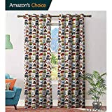 Big datastore home Boys Room Decorative Curtains for Living Room,Planes Bikes Cars Trucks Train Taxi Motorcycle Bus Crane Engine Cartoon ArtBlackout Curtains Window Bedroom,Multicolor W96 x L96