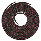 2 pairs Heavy duty round boot shoe laces shoelaces for hiking walking construction safety work (48' (120cm), Black Red X Spot)