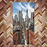 SUPFENG face Towel Lower Manhattan Cityscape Famous Travel Destination NYC Avenue Historical for Bathroom, Hotel, Gym and Spa/3d Printing/Water Absorption/Multipurpose