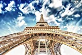Wallmonkeys WM254128 Beautiful View of Eiffel Tower in Paris with Sunset Colors Peel and Stick Wall Decals (30 in W x 20 in H), Medium-Large
