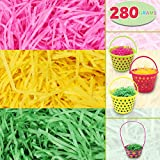Easter Grass Recyclable Paper Shred (Pink, Yellow and Green) Easter Theme Party Decoration for Easter Basket Grass Filler/ Stuffers 280g (10 oz.)