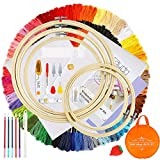 Caydo Full Range of Embroidery Beginners Kit with Instructions, 100 Skeins Threads and a Circular Packing Bag for Cross Stich Craft DIY Pattern