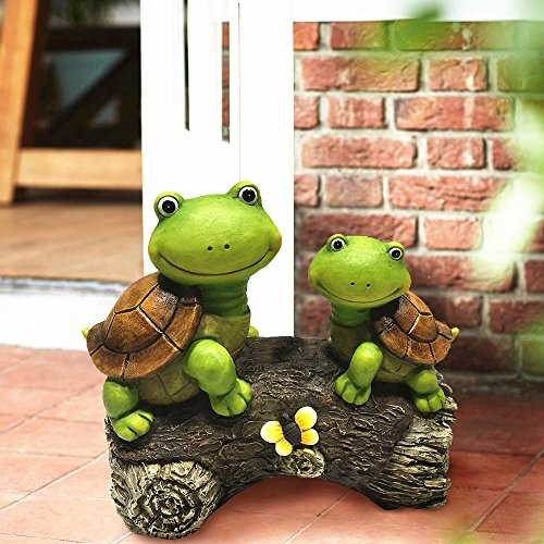 Garden-Statue-Figures-2-Smiling-Turtle-on-a-Log-9-Inch-Large-Resin-Patio-Lawn-yard-Indoor-Outdoor-Decorations
