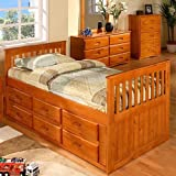 Product review for Discovery World Furniture Rake Bed with 6 Drawers, Twin, Honey