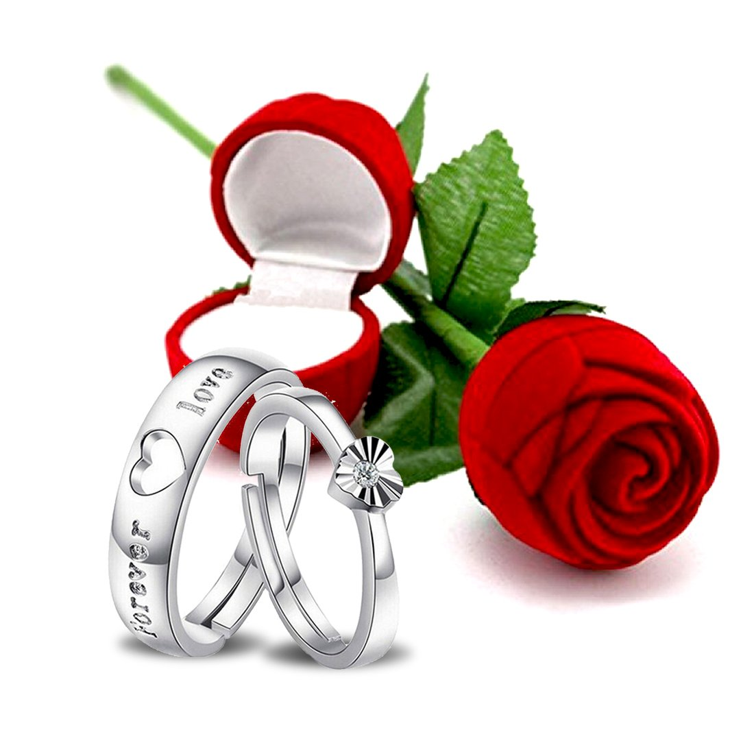 Buy Peora Valentine S Day Gift Hamper Of Couple Ring With Red Rose Gift Box For Boyfriend Girlfriend Gift For Valentine Gift For Him At Amazon In