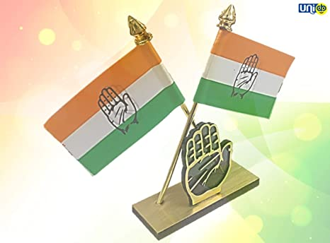 Uniq Indian National Congress Congress Party Election Symbol Hand Haath With Dual Congress Cross Flag On Wooden Base For Car Dashboard Office Table Amazon In Garden Outdoors