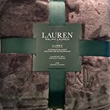 Ralph Lauren Classic KING Size Charcoal Grey Micromink Plush Bed Blanket