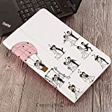 CaseforSamsungGalaxyT820 T825 Slim Folding Stand Cover PUTabS3 9.7,Wedding Decorations,Bride and Groom Wedding Pictures in Comic Book Style Honeymoon,White Black Pink