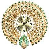 Peacock Wall Clock/Creative Metal Diamond Clock/Mute No Tick/Battery Powered, Home Decor, Living Room, Bedroom, Gift (66 × 68cm)