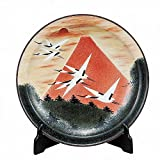 Jpanese traditional ceramic Kutani ware. Decorative Plate with a stand. Red Fuji. With wooden box. ktn-K5-1392