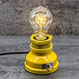 Y-Nut Loft Style Lamp,'Corporal Yellow' Steampunk Industrial Vintage Style, Water Pipe Table Desk Light with Dimmer, Aged Rustic Metal (Yellow)