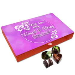 Chocholik Rakhi Gift – with Love My Cutest and Crazy Sister Chocolate Box for Sister – 12pc