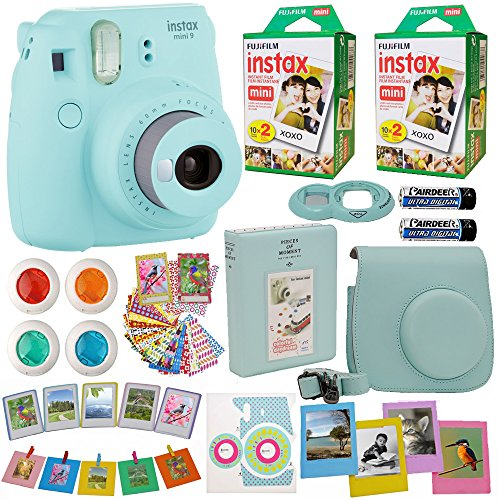 Fujifilm Instax Mini 9 Instant Camera + Fuji INSTAX Film (40 Sheets) Includes Camera Case + Frames + Photo Album + 4 Color Filters and More