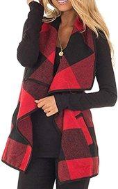 yokamira Womens Cardigans Open Front Draped Sleeveless Plaid Fringe Vest Kimonos Shawls Red