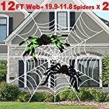 AMENON Halloween Outdoor Decorations, 12 Feet Halloween Round Spider Web with 2 Large Spider (19.7'/11.8') Realistic Looking Hairy Spider White Cobweb for Yard Window Garden Decor Party Favors