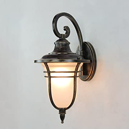 Vintage Exterior Outdoor Wall Sconces Light Mediterranean Outdoor Waterproof Wall Light Lantern With E Fitting American