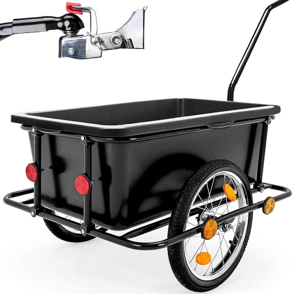 Deuba Remolque para bicicletas con mango carga de equipaje 90L 78x61x50cm peso máximo 80kg cesta extraíble reflectantes