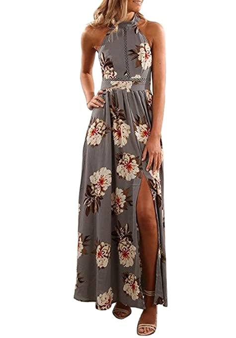 ZESICA Women's Halter Neck Floral Print Backless Split Beach Party Maxi Dress,Grey,Medium
