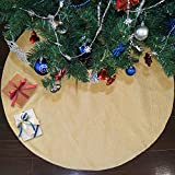 Ivenf 48 inch Large Burlap Plain Christmas Tree Skirt Xmas Tree Decorations