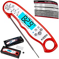 Kizen Instant Read Meat Thermometer - UPGRADED WITH FASTER PROBE, WATERPROOFING, MAGNET, CALIBRATION. Best Super Fast Thermometer for Food, Kitchen, Cooking BBQ, Grill! Includes many BONUS extras!