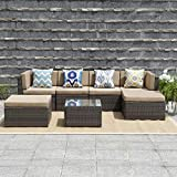 Wisteria Lane Outdoor Patio Furniture Set,7 Piece Rattan Sectional Sofa Couch All Weather Wicker Conversation Set with Ottoma Glass Table Grey Wicker, Beige Cushions