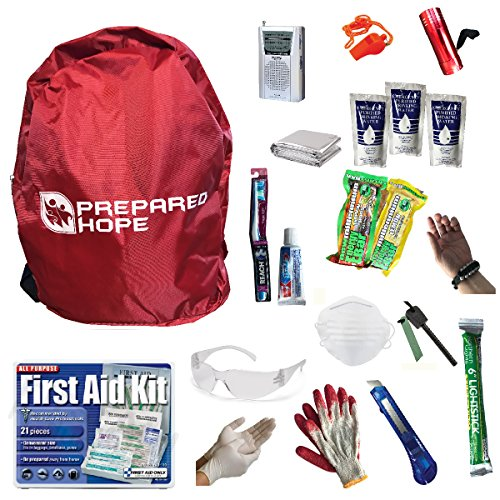 Prepared Hope ESSENTIALS Emergency Survival Kit for Camping, Hiking, and Bug-Outs with Backpack Included