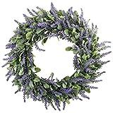 """GTidea 18"""" Artificial Lavender Wreaths Flowers Arrangements Front Door Wall Home DIY Floor Garden Office Wedding Decor in Purple"""