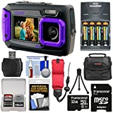 Coleman Duo 2V9WP Dual Screen Shock & Waterproof Digital Camera (Purple) with 32GB Card + Batteries & Charger + Case + Float Strap + Kit