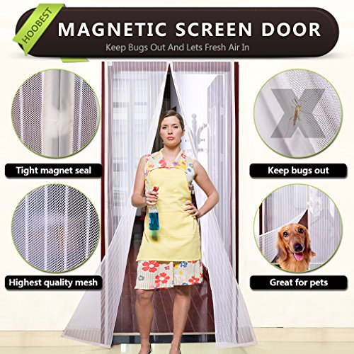 White Magnetic Screen Door,Heavy Duty Mesh Screen & Full Frame Velcro-Keep Bugs Out,Let Fresh Air In.Screen Door Mesh Is Bulit Tough,Close Automaticlly.(Screen Size 39inchx83inch Fits 36inch Doors)