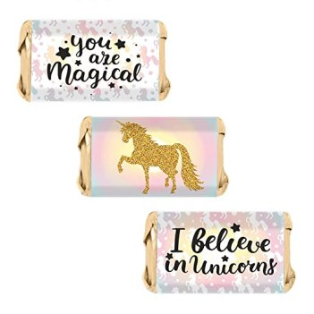 Magical Unicorn Miniatures Candy Bar Wrapper Stickers (54 Count)