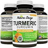 Pure Turmeric Curcumin with Bioprene Black Pepper Extract With 95% Curcuminoids – Natural Sourced Capsules – Increased Energy + Support For Women & Men By Natures Design