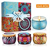 Scented Candles Gift Set, Natural Soy Wax Portable Travel Tin Candle Women Gift, Spring, Lemon, Lavender and Mediterranean Fig,for Stress Relief and Aromatherapy Set of 4 (4 x 4.4 Oz)