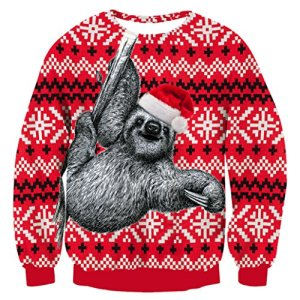 RAISEVERN Unisex's Ugly Christmas Sweater Funny Xmas Sweater Oversized Long Sleeve Knitted Pullover
