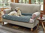 Orvis Grip-Tight Quilted Furniture Protector with Zip-Off Bolster/Only Sofa Protector, Pacific Blue,