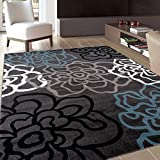 Rugshop Contemporary Modern Floral Flowers Area Rug, 5' 3' x 7' 3', Gray