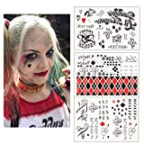 3 Sheets HQ Temporary Tattoos from Suicide Squad,HQ Tattoo Sticker Perfect for Halloween,Cosplay, Costumes and Party Accessories