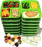 14-Pack 3 Compartment Meal Prep Containers with Lids, 1oz Leak Proof Sauce Cups & Labels Set. Microwave & Dishwasher Safe, BPA Free, Portion Control Bento Lunch Box Food Containers (Alive Green)