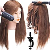 SILKY 100% Real Hair Mannequin Head with Stand, Hairdressers' Practice Training Head and Cosmotologist Doll Head for Hairstyling and Braid - Dark Brown