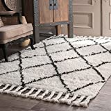 nuLOOM SPRE14A Venice Collection Wool Moroccan Area Rug, Natural, 5' x 8'