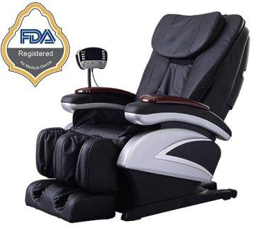 Electric Full Body Shiatsu Massage Chair Recliner w/Heat Stretched Foot Rest 06C- Black