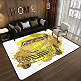All Weather Floor mats,Grunge Home Decor,Retro Car with Digital Grunge Torn Splash Dirty Graffiti Like Urban Illustration,Green Mustard 47'x 59' Multi-USE Floor MAT
