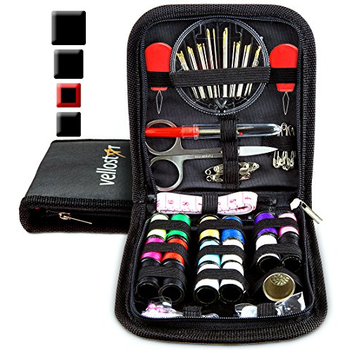 Sewing DIY Starter KIT - Tackle Any Emergency Clothing Repairs w/This High Rated Basic Mini Mending Sew Pack for Kids & Adults, Small Beginner Sowing Travel Kits w/Supplies, Black Thread & Needle