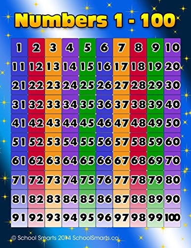 Numbers 1-100 Chart by School Smarts. Fully Laminated ,Durable Material Rolled and SEALED in Plastic Poster Sleeve for Protection. Discounts are in the special offers section of the page.