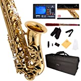 Mendini by Cecilio MAS-L+92D+PB Gold Lacquer E Flat Alto Saxophone with Tuner, Case, Mouthpiece, 10 Reeds and More